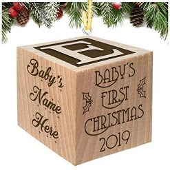 Babies First Christmas Ornament Keepsake Personalized Baby Block Custom Engraved Wooden My First Babys Baby's for Newborn Infant Boy, Girl, Mom, Dad, Grandparent 2018 1st Gift Date by Glitzby
