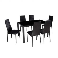 7 Pieces Table Set. IDS Online 7 Pieces Modern Glass Dining Table Set Faxu Leather With 6 Chairs Black.