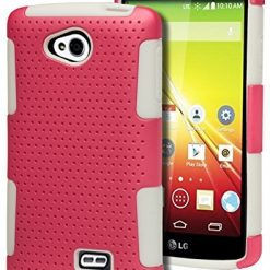 LG Tribute HD Case Bastex Heavy Duty Hybrid Protective Case - Soft White Silicone Cover with Pink Mesh Design Hard Shell Case for LG Tribute LS660