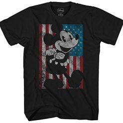 Mickey Mouse Disney American Flag Classic Vintage Retro Distressed America Patriotic Graphic Men's Adult T-shirt Tee (X-Large)