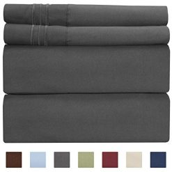 California King Size Sheet Set - 4 Piece - Hotel Luxury Bed Sheets - Extra Soft - Deep Pockets - Easy Fit - Breathable & Cooling Sheets - Wrinkle Free - Comfy - Dark Grey Bed Sheets - Gray