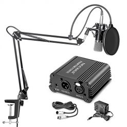 Neewer NW-700 Best Professional Condenser Microphone & NW-35 Suspension Boom Scissor Arm Stand with XLR Cable and Mounting Clamp & NW-3 Pop Filter & 48V Phantom Power Supply with Adapter Kit At Amazon