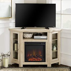 "corner electric fireplace tv stand, WE Furniture Tall Wood Corner Fireplace Stand for TV's up to 55"" Living Room with Storage Cabinets, White Oak"