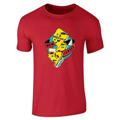 New Jersey Retro Map Garden State Travel Red L Graphic Tee T-Shirt for Men
