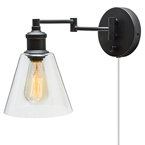 Plug In Wall Sconce. Globe Electric LeClair 1-Light Plug-In or Hardwire Industrial Wall Sconce, Dark Bronze Finish, On/Off Rotary Switch, 6ft Clear Cord, Clear Glass Shade 65311