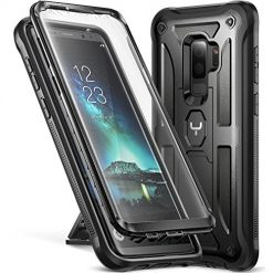 Samsung Galaxy S9+ Plus Case, Best YOUMAKER Kickstand Case with Built-in Screen Protector Shockproof Case Cover for Samsung Galaxy S9 Plus 6.2 inch (2018) - Black