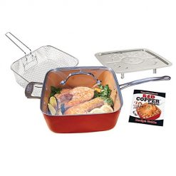 Red Copper Square Pan by BulbHead 5 Piece Set, 10-Inch Pan, Glass Lid, Fry Basket