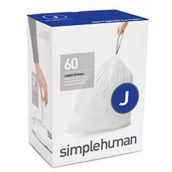 Simple Human Trash Bags. simplehuman Code J Custom Fit Drawstring Trash Bags, 30-45Liter / 8-12 Gallon, 3 Refill Packs (60 Count)