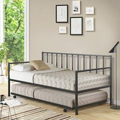 Twin Bed with Trundle, Giantex Twin Size Daybed and Trundle Frame Set, Trundle Bed with 4 Casters, Premium Metal Slat Support, Easy Assembly, Mattress Platform Bed Sofa for Living Room, Guest Room, Children Room