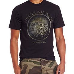 HBO'S Game of Thrones Shirts. Men's Winter Is Coming Circle T-Shirt, Black, X-Large