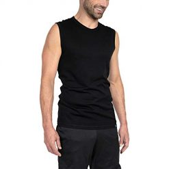 Tank Tops for Men. Woolly Clothing Men's Merino Wool Tank Top - Ultralight - Wicking Breathable Anti-Odor S BLK