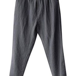 Linen Pants for Women, Soojun Womens Cotton Linen Loose Fit Elastic Waist Harm Pant, Grey, Large Petite