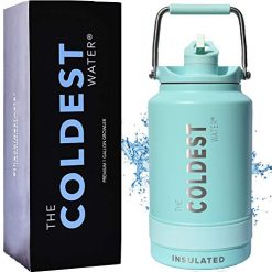 The Coldest Water Bottle One Gallon of Water Insulated Jug with Flip Top Straw Lid - 128 oz Water Bottle (1 Gallon)