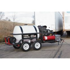 NorthStar Hot Water Commercial Pressure Washer Trailer with 2 Wands - 4,000 PSI, 7.0 GPM, Kohler Engine